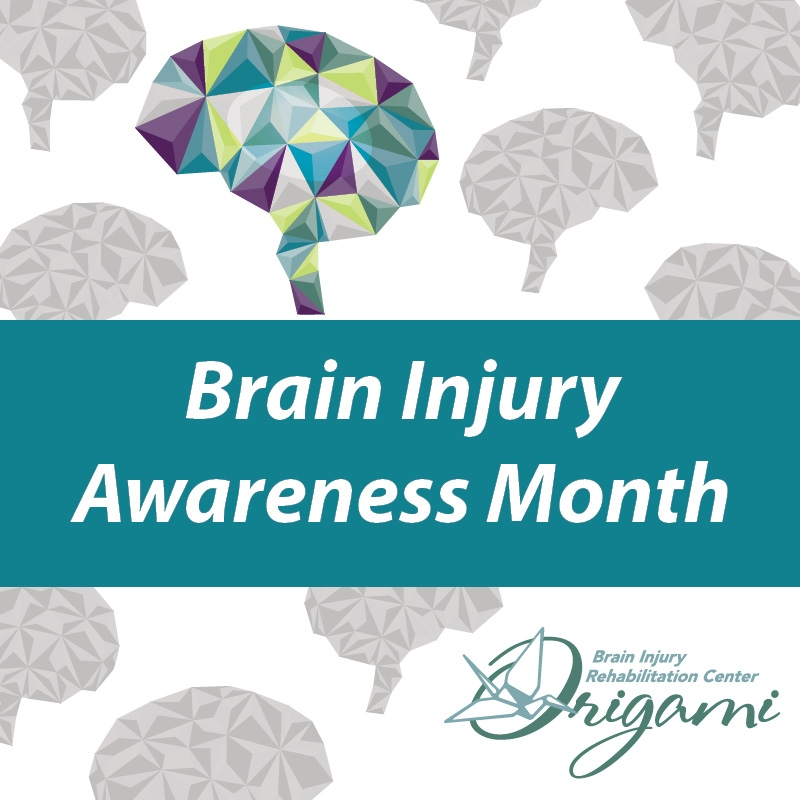 Poster including brain illustrations advertising Brain Injury Awareness Month
