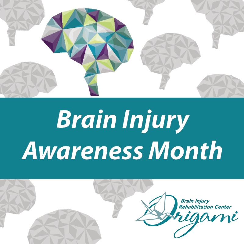 Brain Injury Awareness Month graphic with grey brains and a multi colored brain in the background