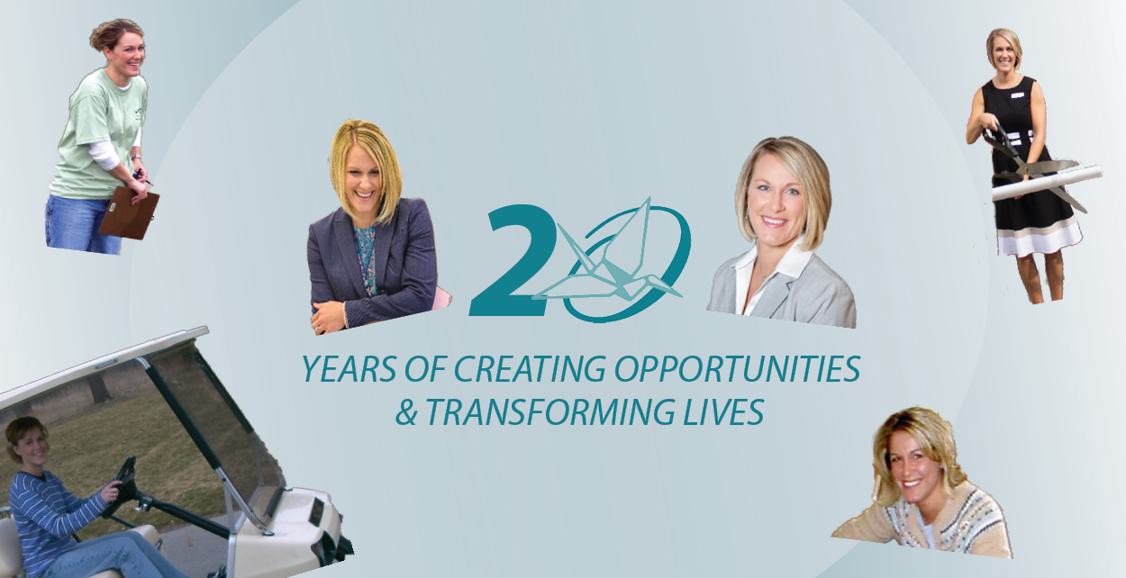 A collage featuring a variety of photos of President & CEO, Tammy Hannah, from over the last 20 years